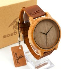 Fashion Luxury Men's Round Bamboo Watches With Genuine Cowhide Leather Japan Movement Wristwatch for Man Wood Watches as Gifts
