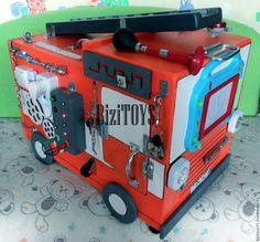 Развивающие игрушки ручной работы. Ярмарка Мастеров - ручная работа. Купить Бизибокс Пожарная машина, Бизиборд. Handmade. Пожарная машина