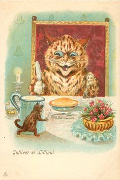 - Louis Wain Cat , Jack The Giant Killer - photo Illustrations, Illustration Art, Louis Wain Cats, Zany Zoo, Art Through The Ages, English Artists, Vintage Artwork, Cat Drawing, Vintage Postcards