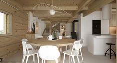 Drewniany minimalistyczny dom   Proj: Elementy   IH - Internity Home Scandinavian Design, Dining Table, House, Furniture, Home Decor, Decoration Home, Home, Room Decor, Dinner Table