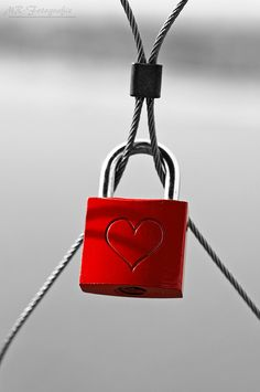 MR-Fotografie | love lock - Liebesverschluß | black & white + red + lock heart