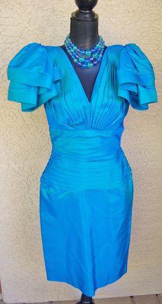 Vintage Tadashi Blue Dress w/Ruffle Sleeves ~ GORGEOUS
