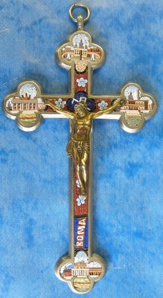 Antique Italian Micro Mosaic Cross
