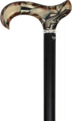 Crafted to keep up with the rising demand for designer walking canes, the golden sienna acrylic of this cane handle has been infused with cool, black colors, creating a swirl pattern that is hard to ignore. Each handle is hand-made to ensure it is unique