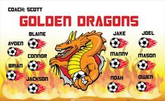 Dragons-Golden-40543 digitally printed vinyl soccer sports team banner. Made in the USA and shipped fast by BannersUSA. www.bannersusa.com