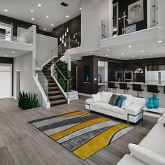modern interior silver white sofa tall chairs tv stairs elegant floor plants modern lamps small table of Modern House Interior Design Ideas for Your Home Living Room Modern, Home And Living, Living Rooms, Cozy Living, Living Area, Small Living, Apartment Living, Stairs In Living Room, Modern Couch