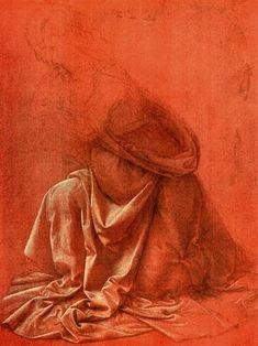 Leonardo da Vinci - Drapery Study on red paper: magnificent.