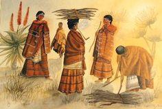 'n Ou litograaf wys Xhosa-vroue in tradisionele klere besig om vuurmaakhout te versamel. Let op die komberse en pyp, wat ook deur vroue gerook word Xhosa, Tribal Outfit, Black Art, South Africa, Coast, Culture, History, Tribal Clothing, Painting