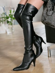 thigh-high black boots