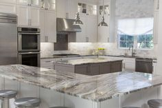 Top 25 Wonderful Marble Kitchen Countertops To Make Your Kitchen Looks Luxurious - granite countertops Refinish Countertops, Granite Kitchen Counters, New Countertops, Kitchen Cabinetry, Glass Cabinets, White Cabinets, Kitchen Backsplash, Diy Kitchen, Kitchen And Bath