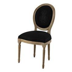 Chaise médaillon en lin noir et chêne grisé