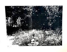 Dziewczynka na łące, Martyna Bocheńska, linoryt, 41,5 x 51,5 cm