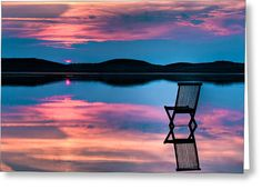 Picture of Scenic view of sunset over inlet and hills with a chair in the calm water, with reflections of sunset and chair. Symbolizing peace, loneliness or emptyness stock photo, images and stock photography. Fresco, Hide Apps, Chobe National Park, Twilight Sky, Live Wallpapers, Hd Wallpaper, Surreal Art, Fine Art America, Sunrise