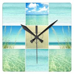 Ocean and Beach Photo Collage Wall Clock: http://www.beachblissdesigns.com/2015/06/ocean-beach-photo-collage-clock.html