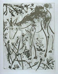 """""""Le cerf (The Stag),"""" in the book Histoire naturelle: Picasso eaux-fortes originales pour les textes de Buffon (Picasso's Original Etchings for Buffon's Text) (Paris: Martin Fabiani, 1942)"""