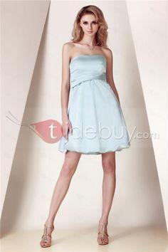 蝶結びAラインストラップレス膝丈ブライズメイドドレス