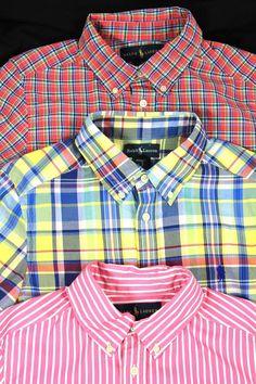 Lot Of 3 Ralph Lauren SZ 10-12 Boys Long Sleeve Polo Plaid Madras Stripe Shirts #PoloRalphLauren
