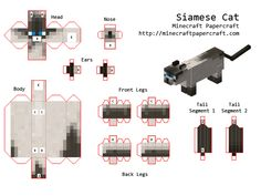 support imprimable pour réaliser un Siamese Cat #Minecraft