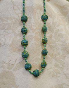 BN 14 Mottled green lampwork coin bead necklace. by KnightsJewelry, $29.00