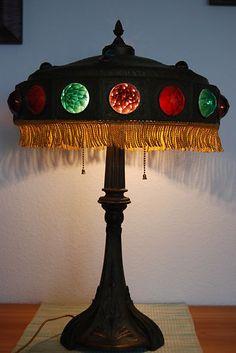 ART NOUVEAU ANTIQUE OLD JEWELED BANQUET PARLOR VINTAGE TABLE LAMP GLASS JEWELS | eBay