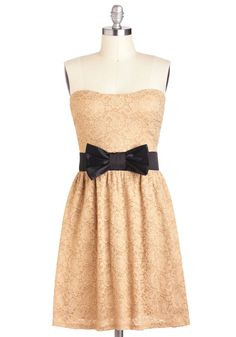 So so so so so cute!   Center Beige Dress - Black, Bows, Lace, A-line, Strapless, Mid-length, Tan, Party, Sweetheart
