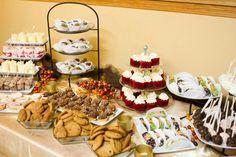 Wedding desert table, cookies mini crème puffs (sams), pies (Johnsons), Cake (me) Tea Party Wedding, Wedding Candy, Wedding Desserts, Wedding Decor, Wedding Reception, Wedding Stuff, Dream Wedding, Wedding Ideas, Sweet Sweet