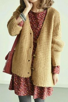 red pattern dress, chunky knit, cardigan, cosy, winter, autumn, fashion, style