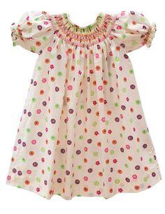 Girls Floral Button Flower Bishop Dress – Carousel Wear