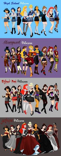 Alternative Disney princesses.