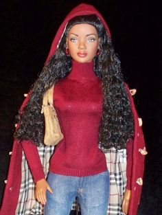 Basic AA American Model - Shes ready for a mountain retreat in red duffle coat with Burberry plaid lining, longsleeved red turtleneck, and distressed jeans. Tan suede ankle boots match her shoulder bag. Ethnic Fashion, Love Fashion, Fashion Dolls, Fashion Outfits, Diva Dolls, Red Turtleneck, African American Dolls, Black Barbie, My Black Is Beautiful