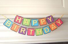 Happy Birthday Banner in a Colorful Rainbow by FeistyFarmersWife, $19.00