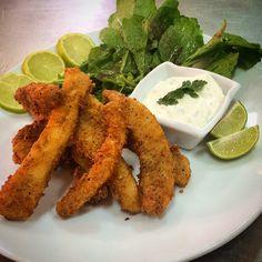 Calamari tenders, with fresh tartar sauce & rocula salad.