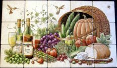 """""""Knapp's Bounty-Tuscany""""  Wine and cheese still life with elements of cornucopia and harvest basket.   Custom designed decorative kitchen backsplash tile mural.  Hand painted on 6 x 6 inch ceramic tile."""