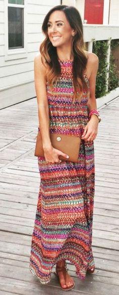 #summer #halterneck #trend   Rainbow Halter Maxi Dress