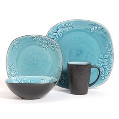 With a beautiful reactive glaze finish and contemporary shapes, this Casa Granada 16-piece Dinnerware Set will bring a modern touch to your dining experience. This stoneware set serves four and is dishwasher-safe. $79.99.