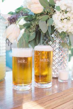Bride and groom beer mugs