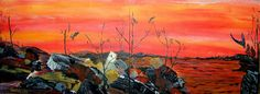 red sky  acrylic on board  by Katina Cote