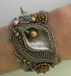 bead embroidered bracelet by cindy riccardelli