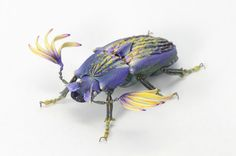 Japanese artist Hiroshi Shinno builds hyperrealistic sculptures of insects that don't exist, perfect forms of imaginative species that look as if they were built from vibrant leaves and delicate flower petals. Even these aspects of the creatures are false, as each leaf or petal was cast from resin a