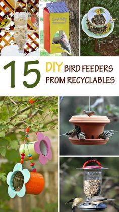 15 DIY Bird Feeders From Recyclables 15 amazing DIY bird feeders made from recyclables. Inexpensive projects that make use of common as well as unusual recyclable items. 15 amazing DIY bird feeders from recyclables. Cheap bird feeders to make with kids th Projects For Kids, Diy For Kids, Crafts For Kids, Diy Projects, Diy Crafts, Beach Crafts, Backyard Projects, Kids Garden Crafts, Garden Projects