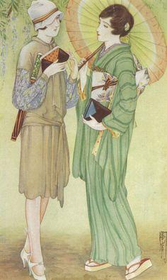 初夏の装『婦人世界』昭和2年5月 口絵 Early summer attire: frontispiece of the May 1927 edition of Women's World 高畠華宵 Takabatake Kashō 1927
