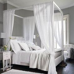 Four poster bed canopy curtains ideas bedroom beds curtain post 4 for sal. Canopy Bed Curtains, Canopy Bedroom, Bedroom Decor, Fabric Canopy, Door Canopy, Ikea Curtains, Curtains Living, Canopies, Tumblr Room