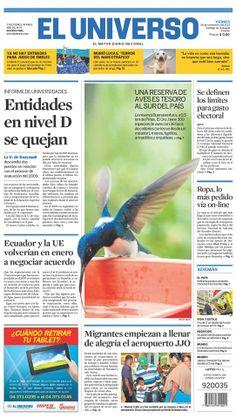 Portada de #DiarioELUNIVERSO del viernes 29 de noviembre del 2013. Las noticias del día en: www.eluniverso.com