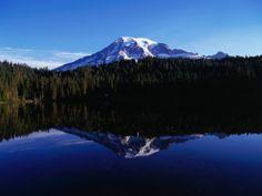 Mt. Rainier Reflected in Reflection Lake, Mt. Rainier National Park, USA