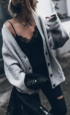 black + grey. lace trim cami. knit cardi.