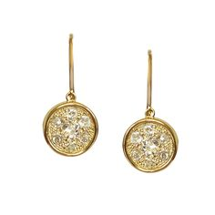 Yellow gold drop earrings set with mismatching diamonds. Gee Woods Bespoke. www.geewoods.com