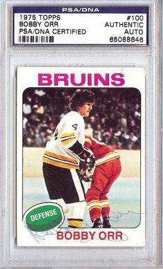 Bobby Orr Autographed 1975 Topps Card PSA/DNA Slabbed #65088646 . $179.00. This is a hand signed Bobby Orr 1975 Topps Card. This item has been authenticated and slabbed by PSA/DNA.