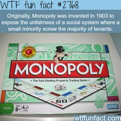 Monopoly and the reason it was invented - WTF fun facts Wtf Fun Facts, True Facts, Funny Facts, Random Facts, Crazy Facts, Odd Facts, Bizarre Facts, The More You Know, Good To Know