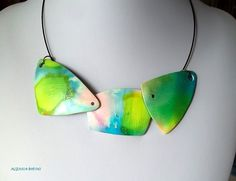 necklace - polymer clay and alcohol inks