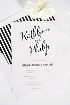 Modern, romantic and classic black and white striped calligraphy, script wedding invitations with a DIY striped envelope liner! | Shine Wedding Invitations